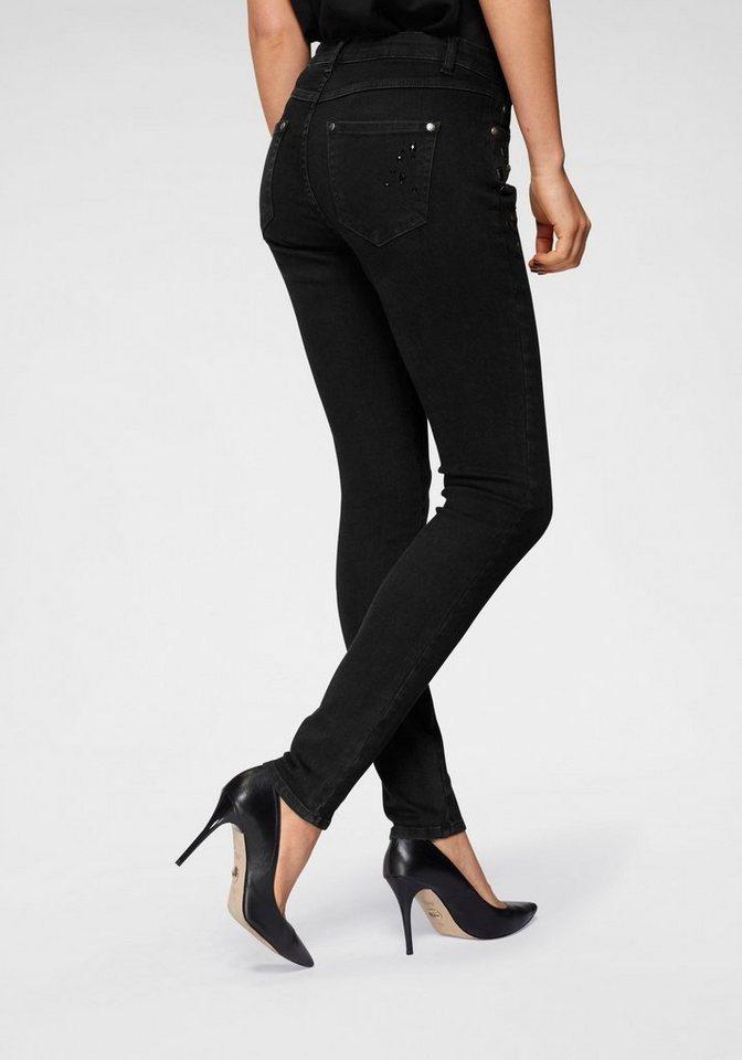 Monari Destroyed-Jeans mit schwarzen Ziersteinen | Bekleidung > Jeans > Destroyed Jeans | Schwarz | Monari