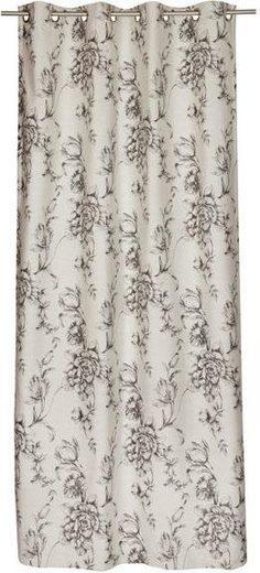 Vorhang nach Maß »Vintage«, Ösen (1 Stück), Blütendesigns in Jaquardstruktur