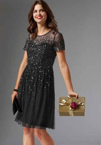 GUIDO MARIA KRETSCHMER A-Linien-Kleid mit glitzernder Paillettenapplikation d5621a135d