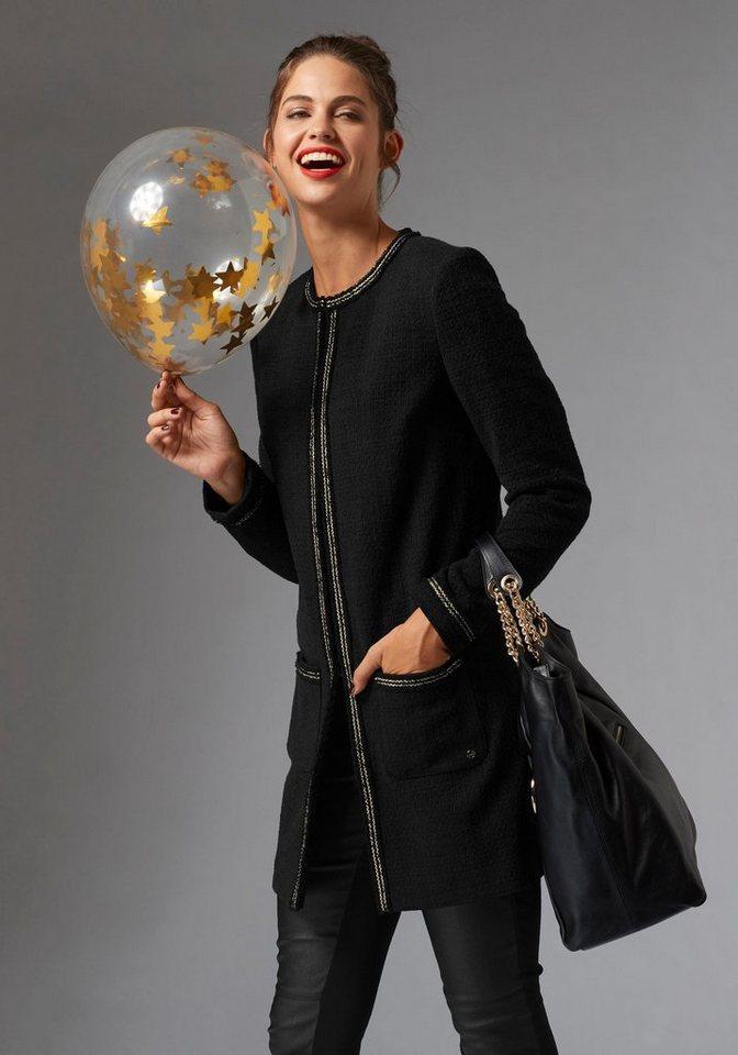 Damen GUIDO MARIA KRETSCHMER Longblazer mit kontrastfarbenen Paspeln schwarz | 06935518618888