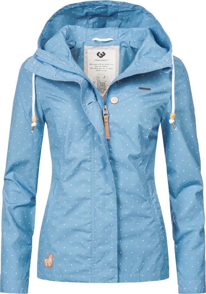 Damen Ragwear Outdoorjacke YM-Lynx Dots stylische gepunktete Übergangsjacke mit Kapuze blau | 04251591901184