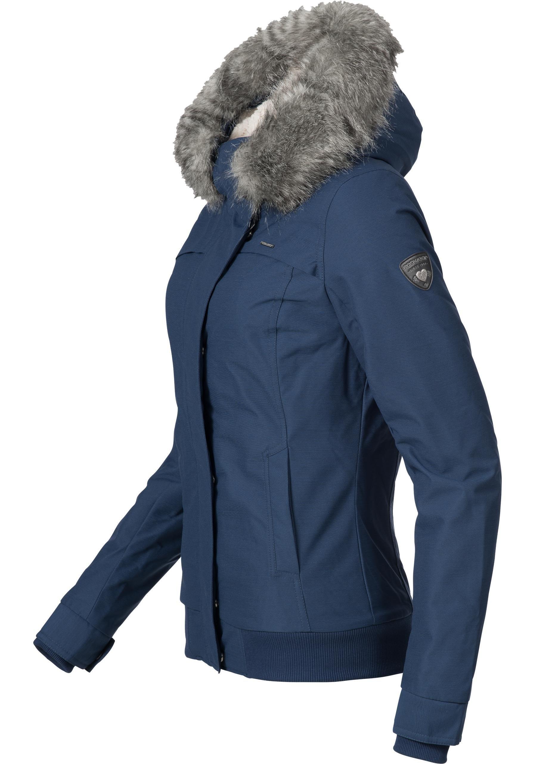 Damen Ragwear Winterjacke YM-Wooki Basicjacke mit Teddyfell und Kunstpelz-Kapuze blau | 04251490104105