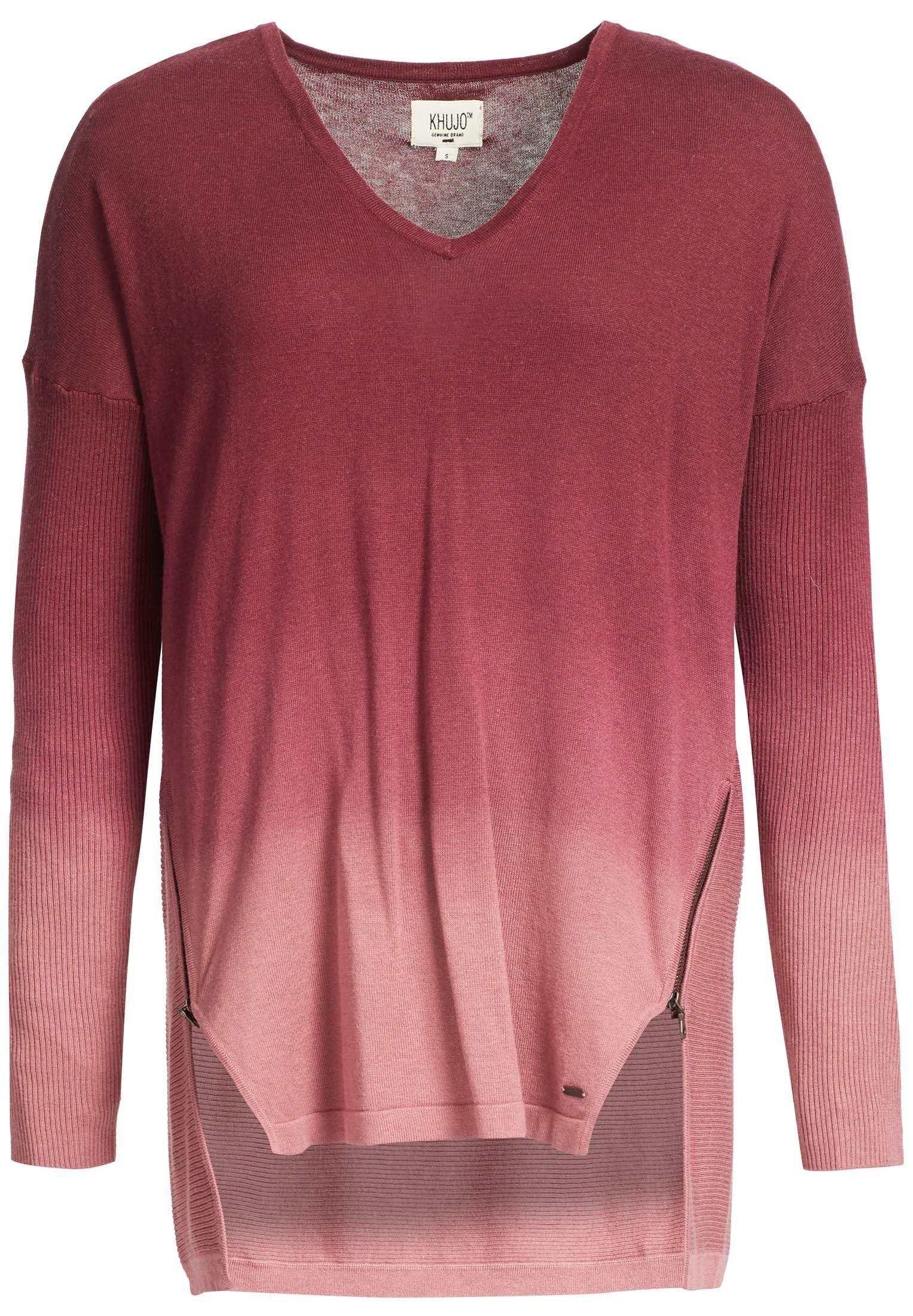 khujo V Ausschnitt Pullover »IROD« mit Zierreißverschlüssen online kaufen | OTTO