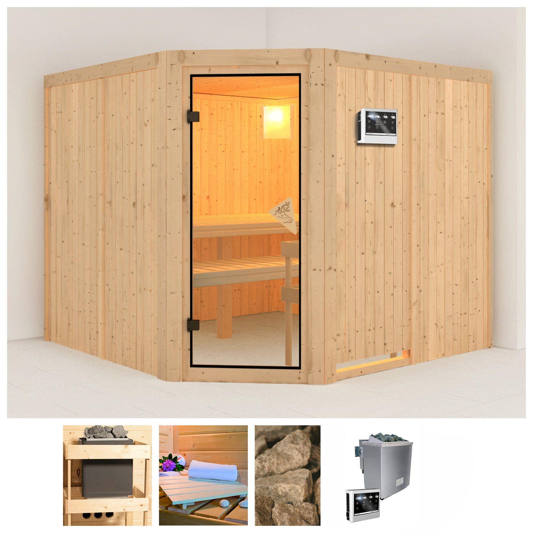 KONIFERA Sauna »Farin«, 231/231/202 cm, 68 mm, 9-kW-Bio-Kombiofen mit ext. Steuerung