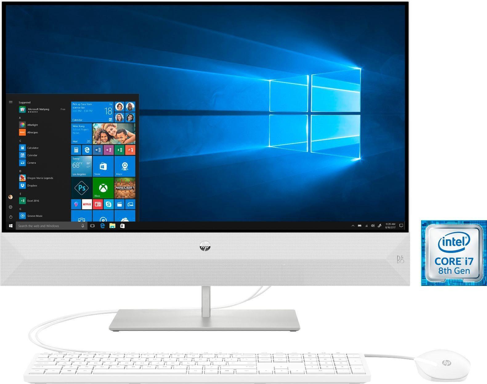 HP 27-xa0002ng All-in-One PC (Core i7, 8 GB RAM, 1000 GB HDD, 128 GB SSD)