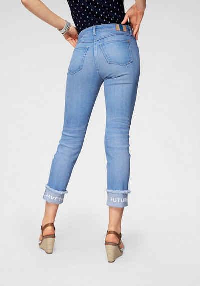 MAC 7 8-Jeans »Angela Future Pants« Mit Print und Fransen am 4e9a771248