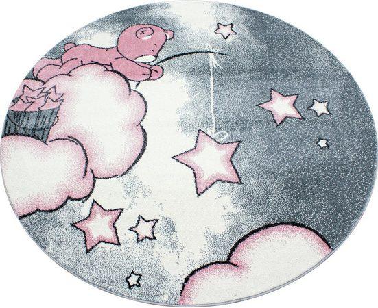 Kinderteppich »Kids 580«, Ayyildiz, rund, Höhe 12 mm, Motiv Sterne, Kurzflor