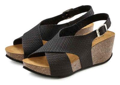 LASCANA Sandalette mit Korkfußbett und Keilabsatz