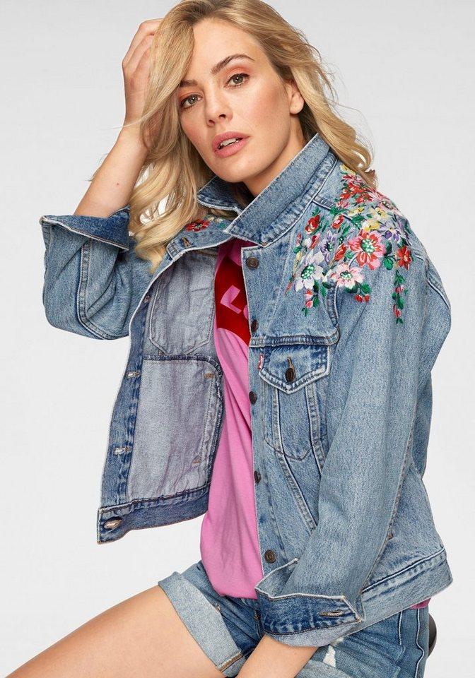 huge discount ce76f 926d3 Levi's® Jeansjacke »Trucker-Flower« Mit aufwendiger Stickerei an den  Schultern online kaufen   OTTO