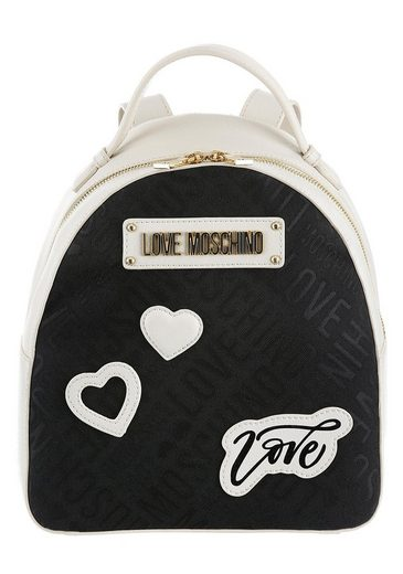 LOVE MOSCHINO Cityrucksack »Borsa Tess«, mit modischen Patches und goldfarbenen Details