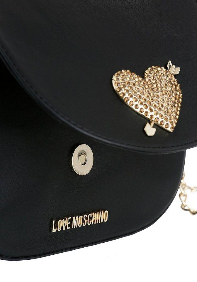 LOVE MOSCHINO Umhängetasche, mit goldfarbenem Herz und Beschlägen