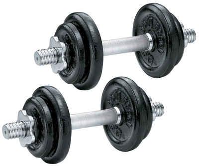 body coach Hantel-Set »Kurzhanteln mit Gusseisen Hantelscheiben je Hantel 10kg Gewicht«, 20,00 kg, (Set, ein Paar), verchromte Kurzhantelstangen mit Sternverschlüsse