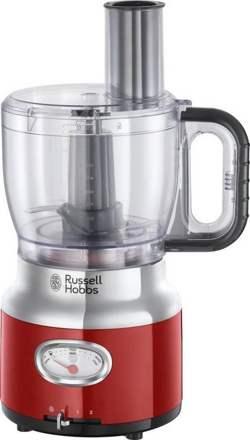 RUSSELL HOBBS Zerkleinerer Retro Ribbon Red Food Processor 25180-56, 850 W, 1,7 l Rührschüssel