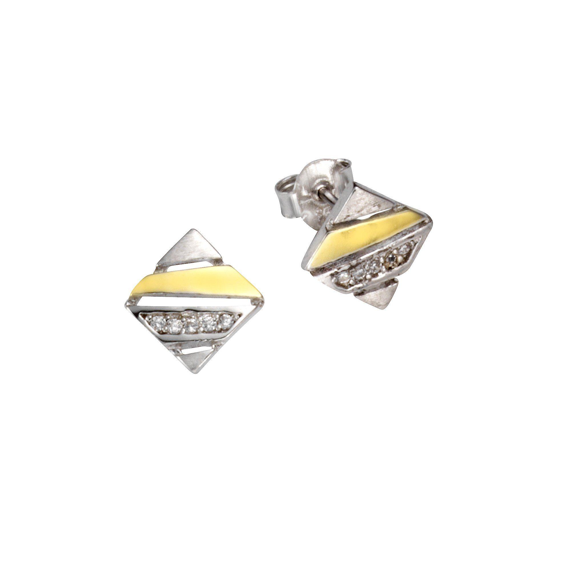 Firetti Ohrstecker »925/- Sterling Silber bicolor 10x Zirkonia«
