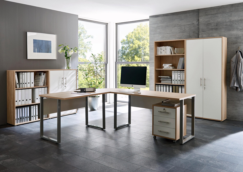 BMG Möbel Büromöbel-Set »Office Edition 1« (8-tlg.) | Büro > Büromöbel-Serien | Grau | Eiche - Sonoma - Abs