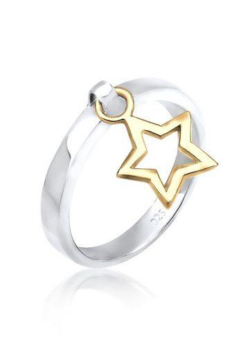 Elli Ring »Bandring Stern Anhänger Bi-Color 925 Silber«