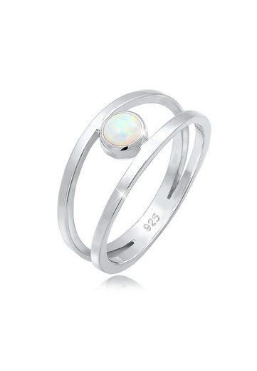 Elli Fingerring »Bandring Zweireihig Synthetischer Opal 925 Silber«