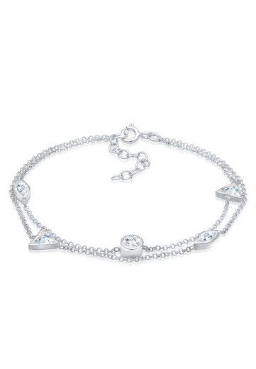 Elli Armband »Layer Dreieck Geo Zirkonia Kristalle 925 Silber«