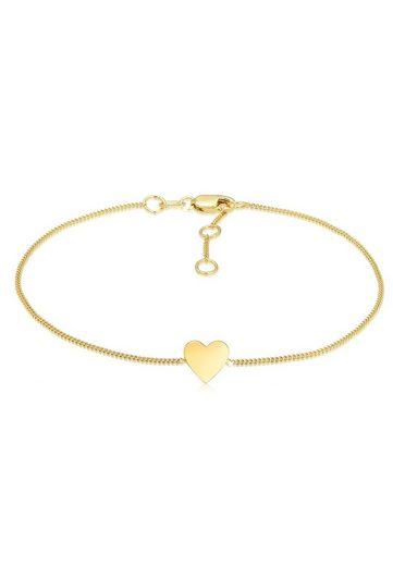Elli Armband »Valentinstag Herz Anhänger Liebe 375er Gelbgold«