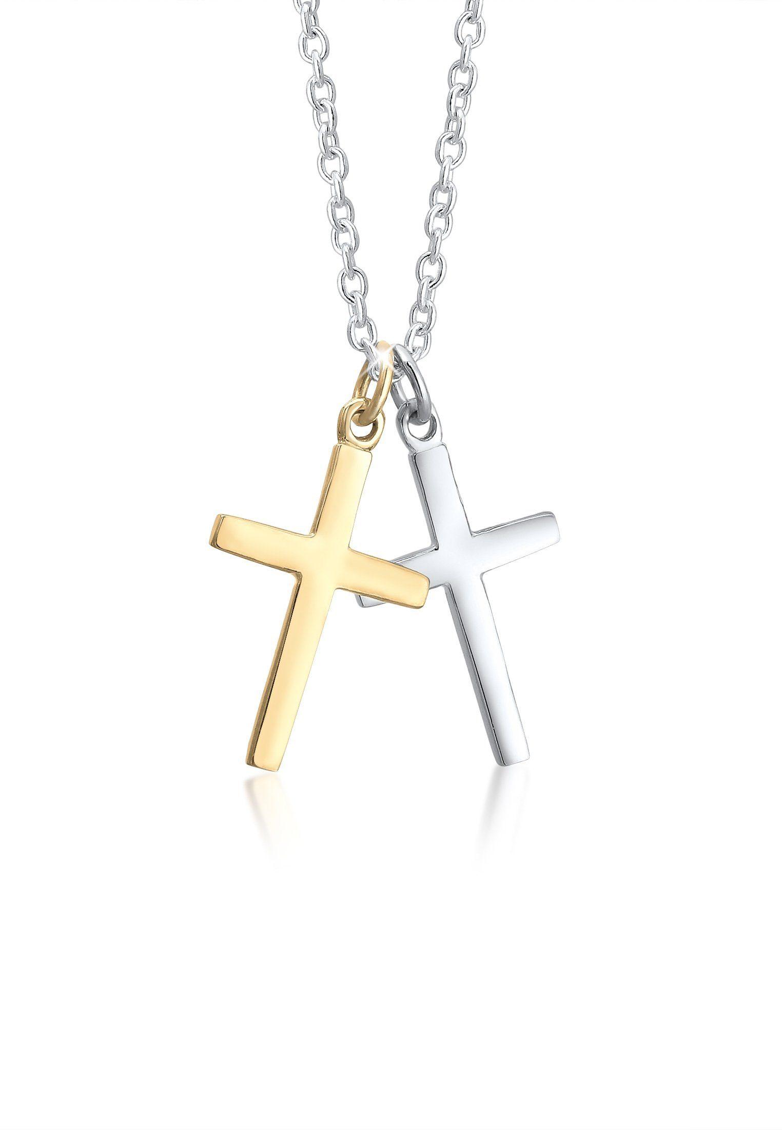 Elli Collierkettchen »Ankerkette Kreuz Anhänger Bi-Color 925er Silber«
