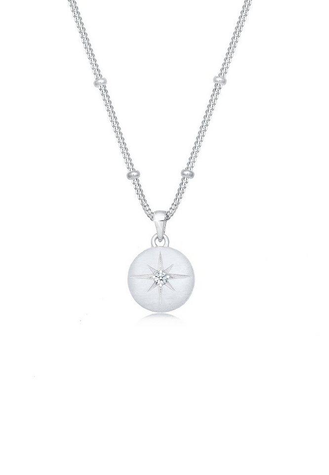 Elli Collierkettchen »Panzerkette Stern Diamant (0.03 ct) 925 Silber« | Schmuck > Halsketten > Panzerketten | Elli