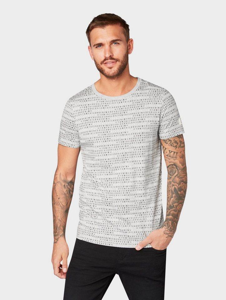 Herren TOM TAILOR Denim  T-Shirt Revolverheld: T-Shirt mit ganzflächigem Print grau | 04060868897194