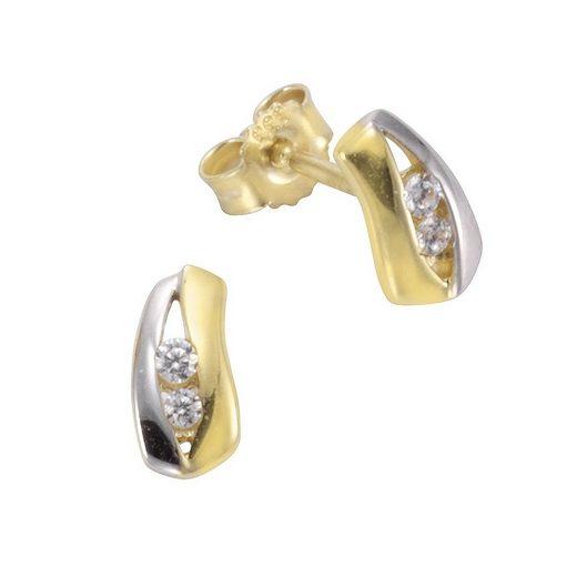 Vivance Ohrstecker »333/- Gold bicolor Zirkonia«