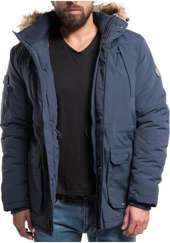 Herren CROSSHATCH Wintermantel Killblake stylischer Winterparka mit Kunstpelz-Kapuze blau | 05052554706414