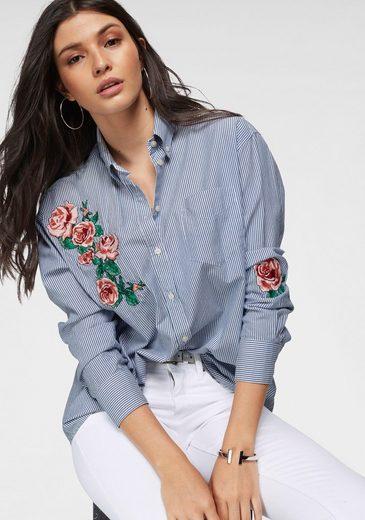 Gant Hemdbluse mit aufwendiger Blumen-Stickerei vorn und am Ärmel