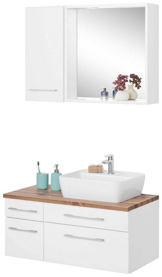 held m bel badm bel set davos mit h ngeschrank und spiegel 3 tlg inklusive beleuchtung. Black Bedroom Furniture Sets. Home Design Ideas