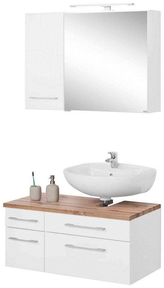 HELD MÖBEL Badmöbel-Set »Davos«, (Set, 3-tlg), mit Hängeschrank und Spiegelschrank