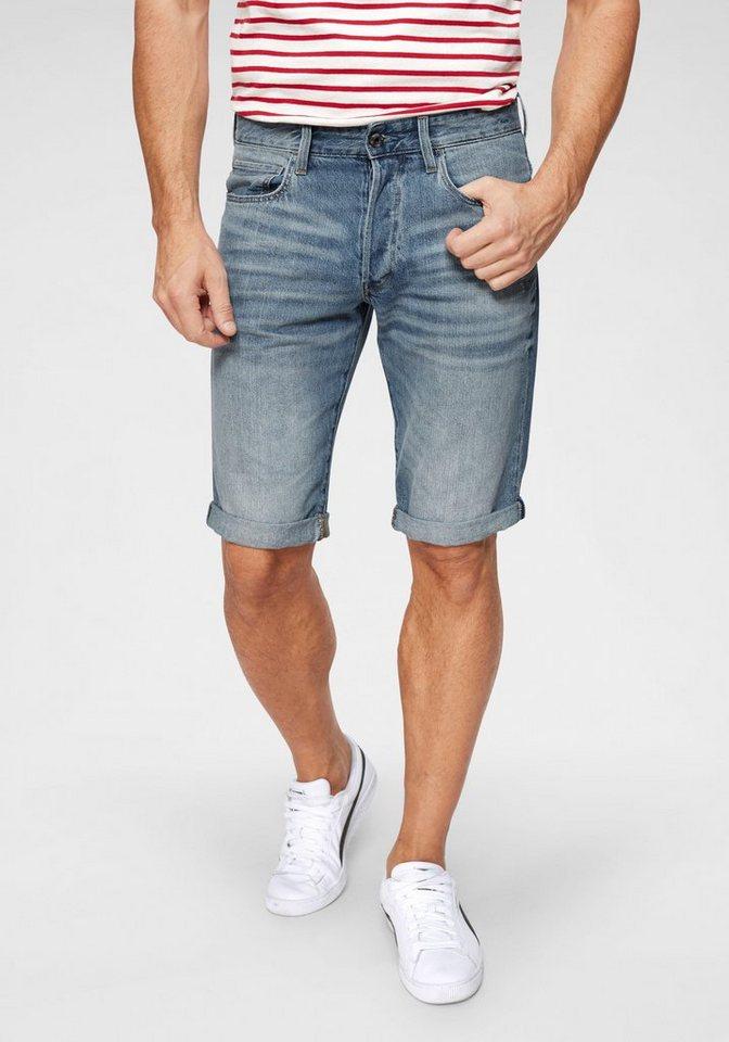 Herren G-Star RAW Jeansshorts Markenlabel hinten am Bund blau | 08719368710279