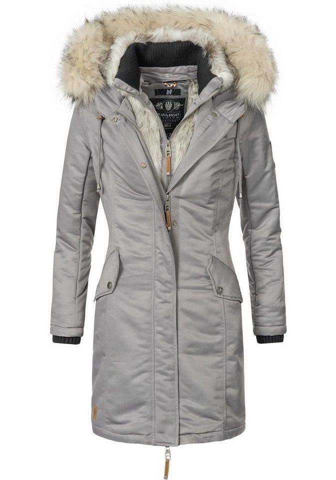 Damen Navahoo  Wintermantel Daylight stylische Damen Winterparka mit Kunstfellkapuze grau | 04059072292093