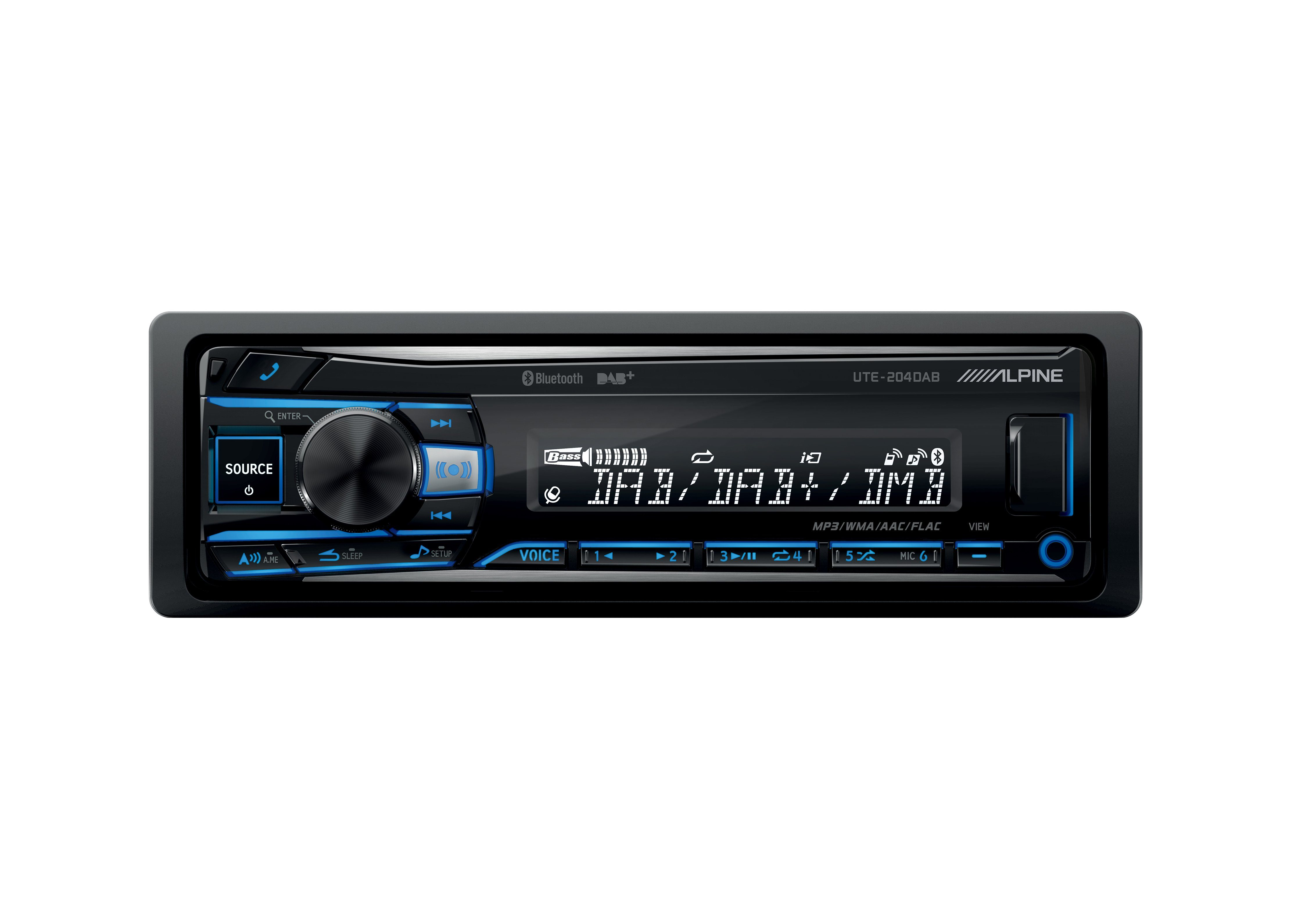 Alpine 1-DIN Media Receiver mit Bluetooth & DAB+ »UTE-204DAB«