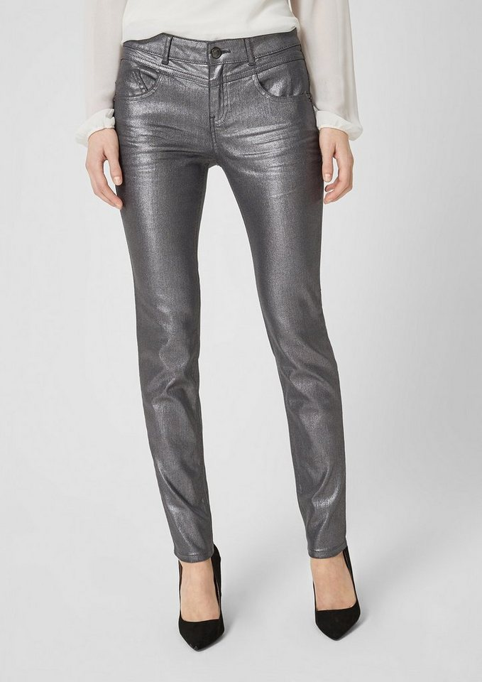 s.Oliver BLACK LABEL Sienna Slim: Glänzende Jeans