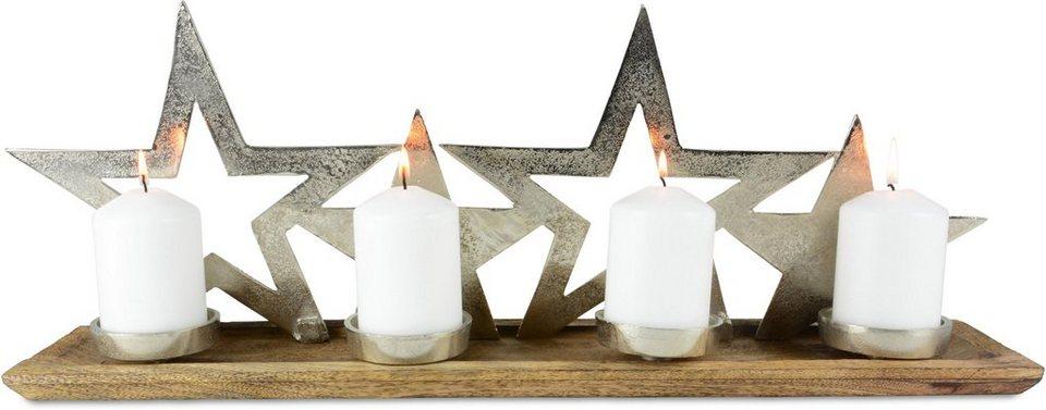 adventsleuchter 4 flammig mangoholz und aluminium. Black Bedroom Furniture Sets. Home Design Ideas