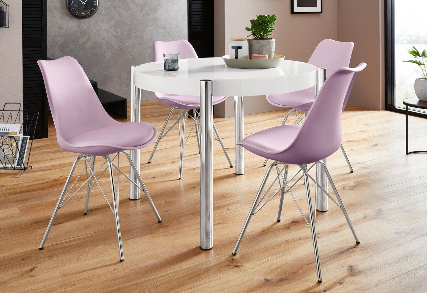 Homexperts Essgruppe »Hannes2-Ursel«, (Set, 5 tlg), Tisch rechteckig mit 4 Schalenstühlen | Küche und Esszimmer > Stühle und Hocker > Esszimmerstühle | Weiß | Kunstleder - Holzwerkstoff | Homexperts