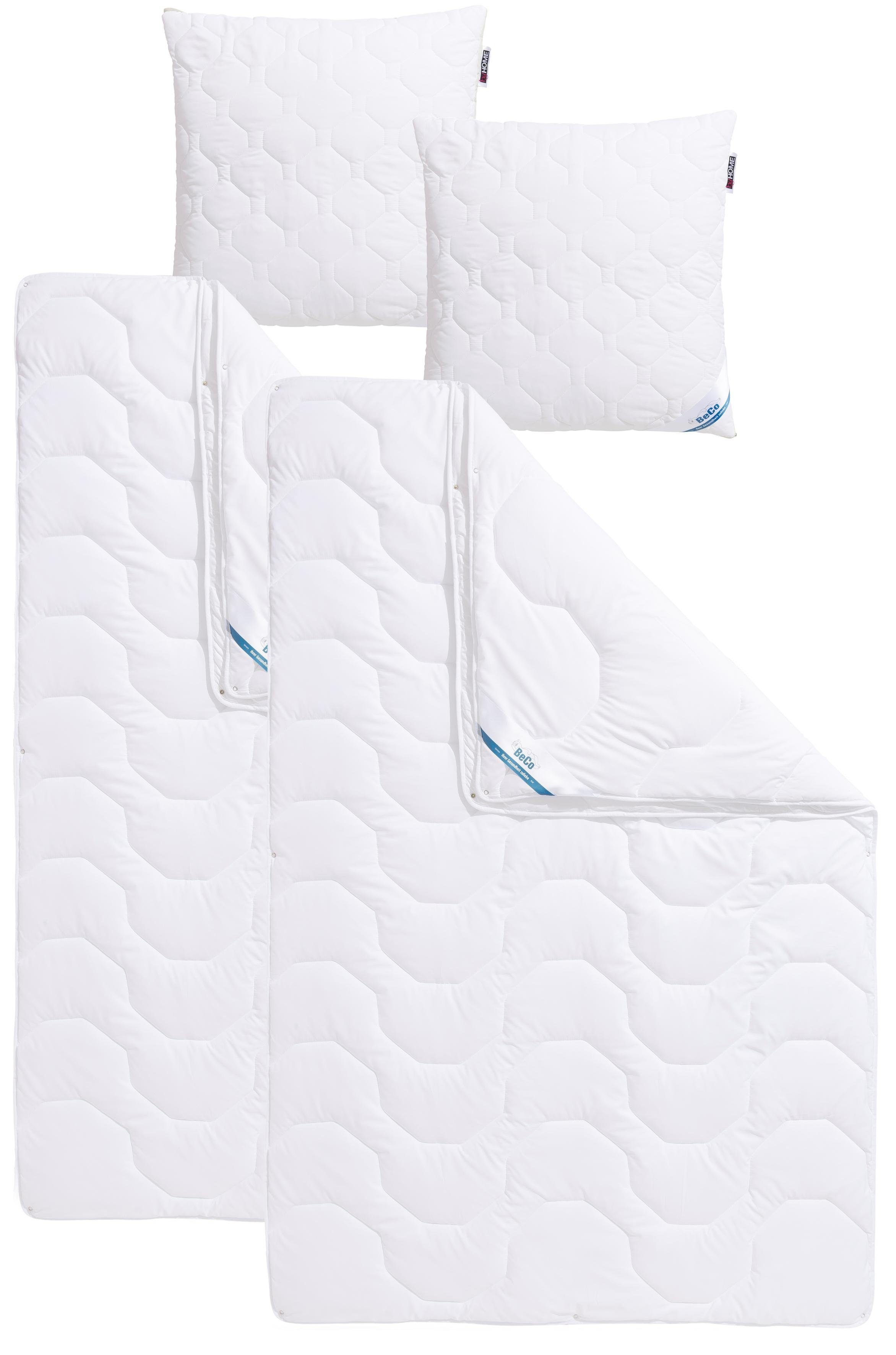 Set: Kunstfaserbettdecken + Kopfkissen, »Antibac«, BeCo, 4-Jahreszeiten - antibakteriell, Füllung: 100% Polyester, Bezug: 100% Polyester, kochfest 95°