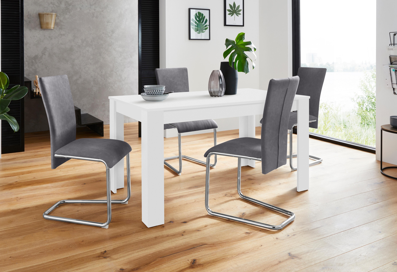 Homexperts Essgruppe »Nick3 Mulan«, (Set, 5 tlg), mit 4 Stühlen, Tisch in weiß, Breite 140 cm online kaufen | OTTO
