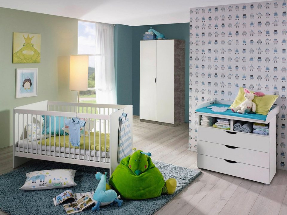 babyzimmer spar set bristol babybett wickelkommode 2 t riger kleiderschrank 3 tlg. Black Bedroom Furniture Sets. Home Design Ideas