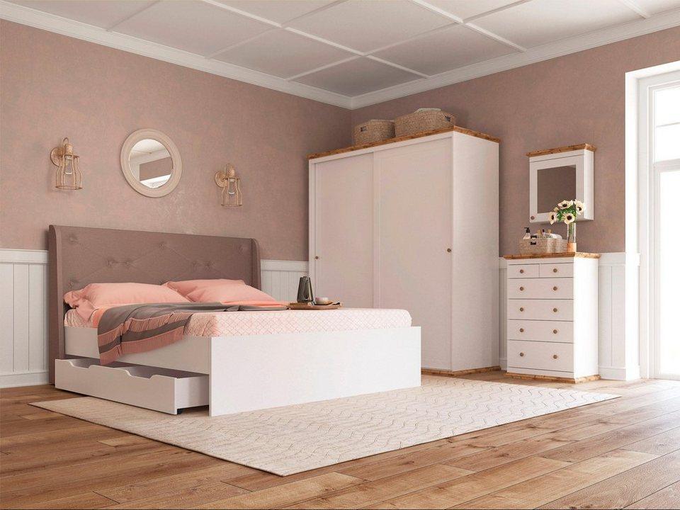 home affaire bett banburry mit gepolstertem kopfteil. Black Bedroom Furniture Sets. Home Design Ideas