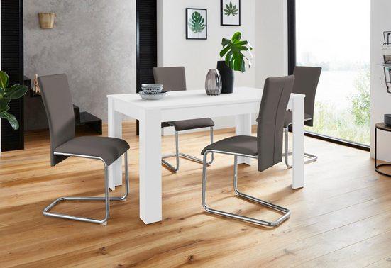 Homexperts Essgruppe »Nick3-Mulan«, (Set, 5 tlg), mit 4 Stühlen, Tisch in weiß, Breite 140 cm