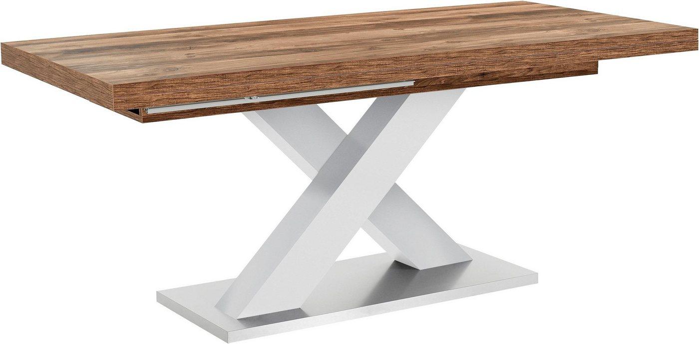 Tische - Esstisch »Komfort C«, mit X Gestell in weiß und mit Auszugsfunktion, Breite 180 280 cm  - Onlineshop OTTO