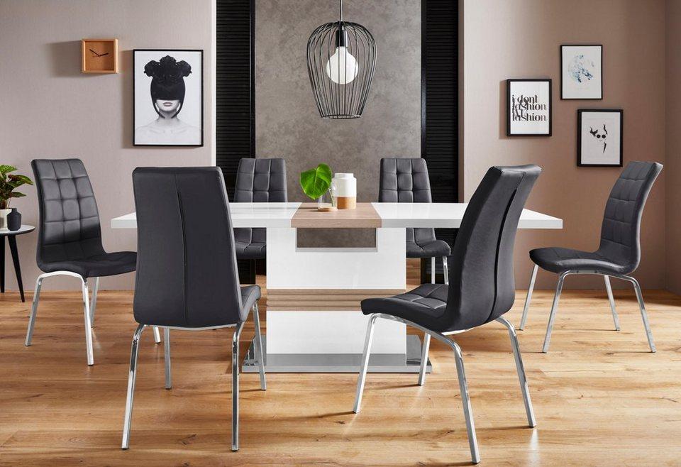 Essgruppe Perez Lila Mit 4 Stühlen Tisch Ausziehbar