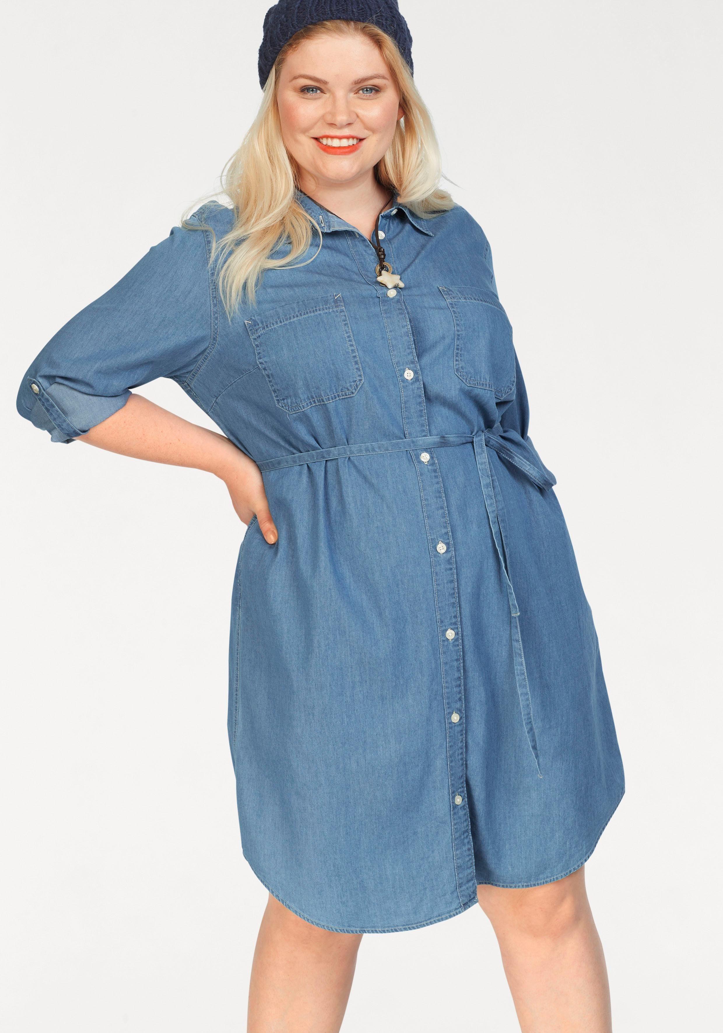 Sheego Jeanskleid Mit Seitlichen Eingriffstaschen Blue