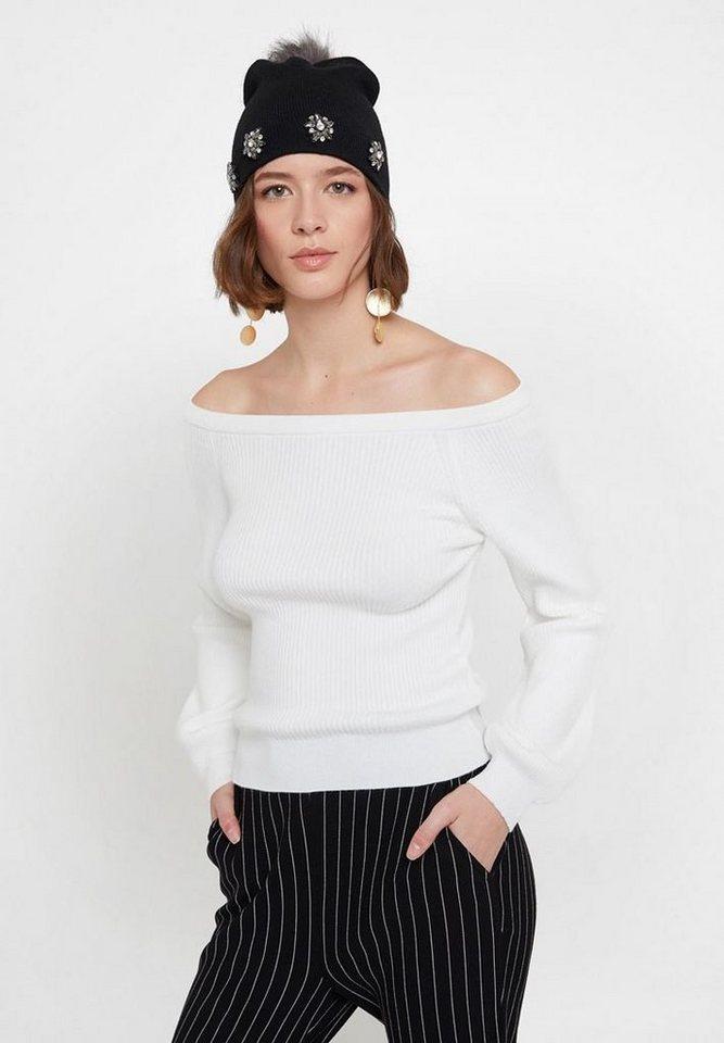 OXXO Carmenpullover mit gerippter Optik | Bekleidung > Pullover > Carmenpullover | Weiß | Jeans | OXXO