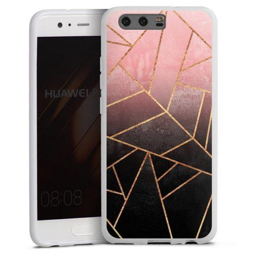 DeinDesign Handyhülle »Pink And Black Stone« Huawei P10, Hülle Farbverlauf Geometric Gold