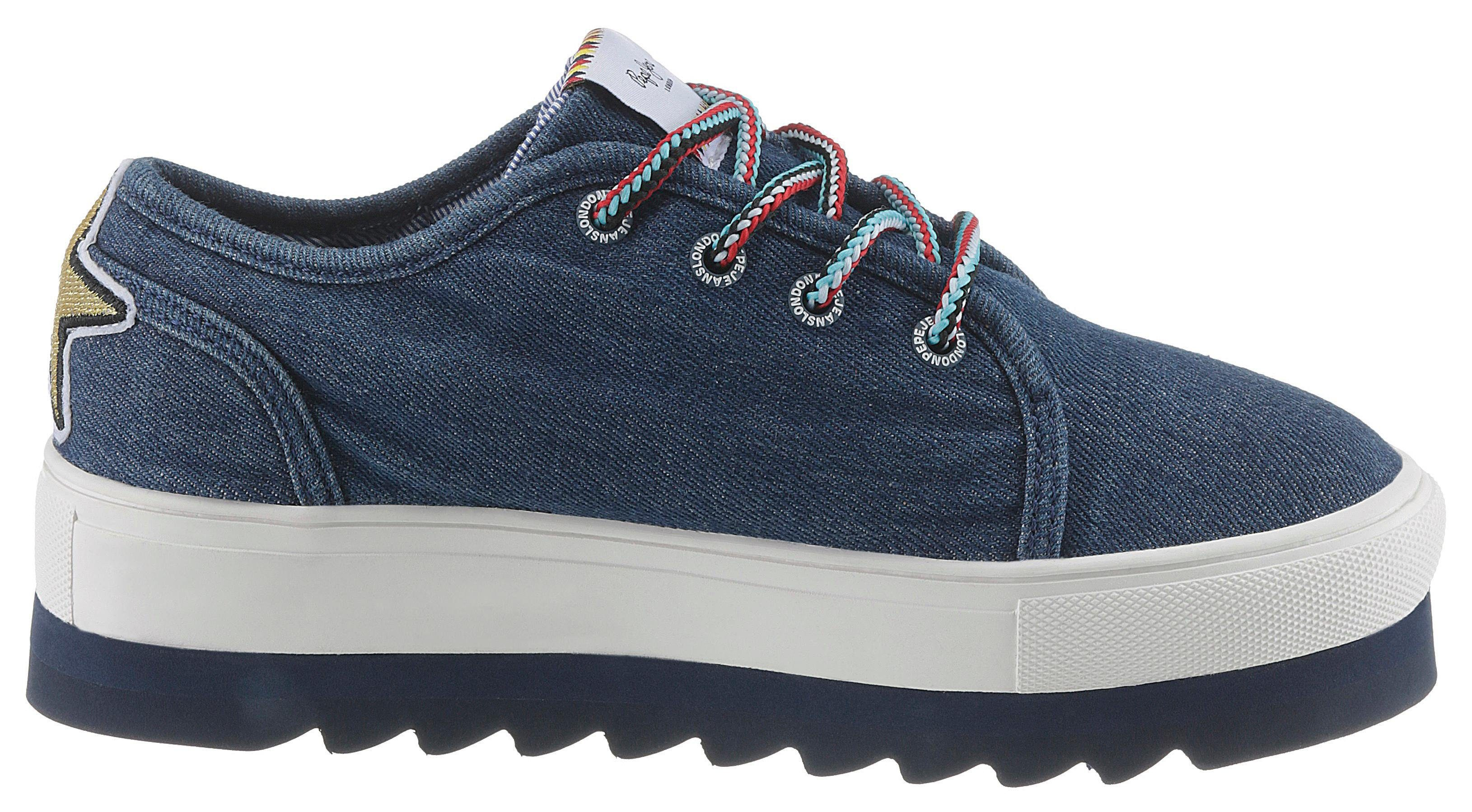 Pepe Patches Plateausneaker »otawa Jeans Mit Curious« Trendigen wrYOrxtqd