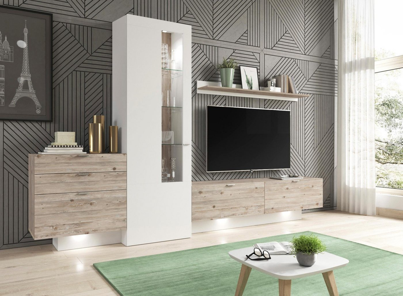 Wohnwände - TRENDMANUFAKTUR Wohnwand »VERTICO«, (Set, 4 tlg)  - Onlineshop OTTO