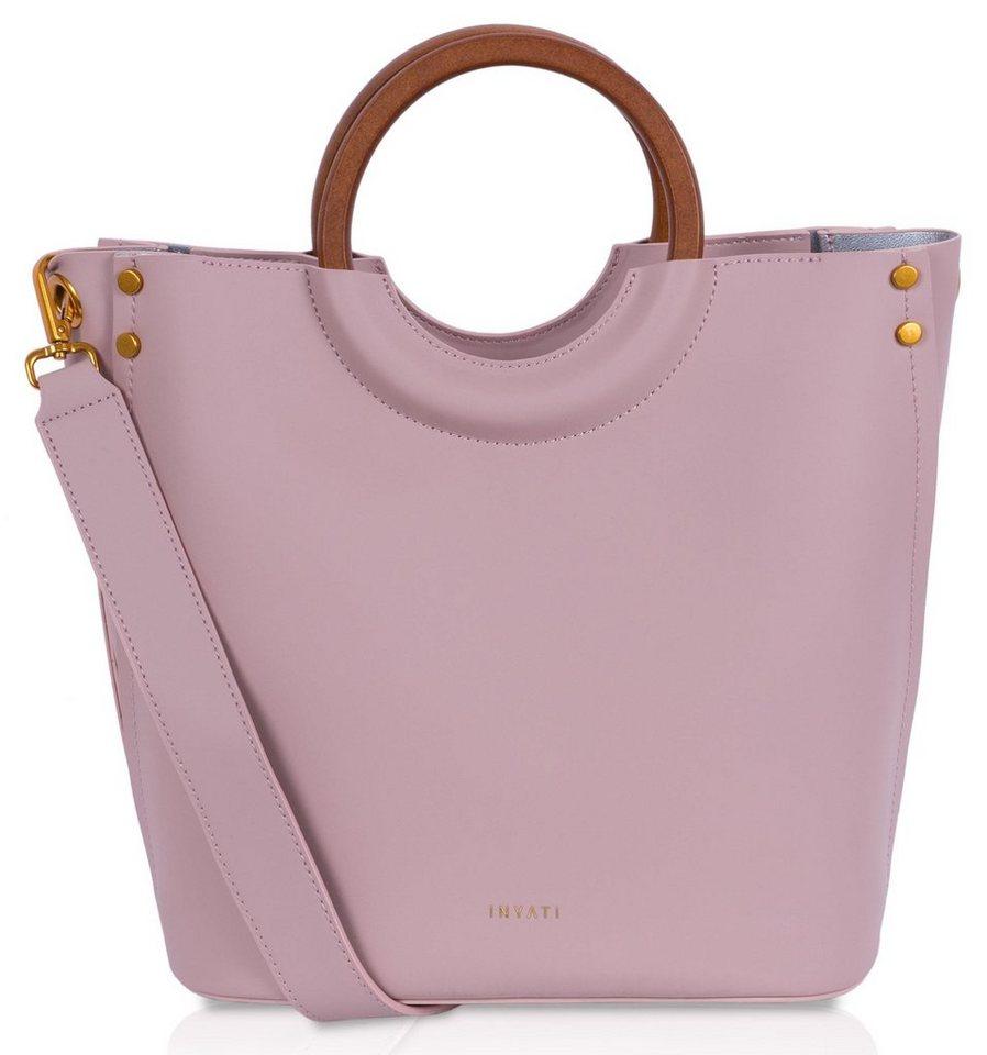 Damen INYATI Henkeltasche »VIVIANA«, vegan, mit trenigem Griff rosa  Damen Handtaschen